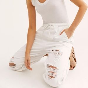 FREE PEOPLE White SLOAN Distressed Joggers